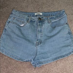 Forever 21 light wash high waisted shorts